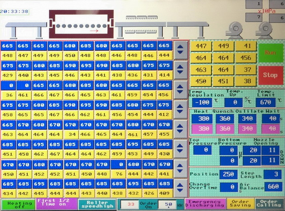 """Монитор управления печи по закалке стекла позволяет контролировать все необходимые параметры процессов <span style=""""color: #ffff00;""""> Увеличить!</span>"""