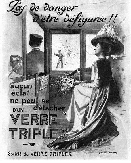 Рекламная иллюстрация фирмы Société du Verre Triplex ламинированного стекла для автомобилей, 1912 год