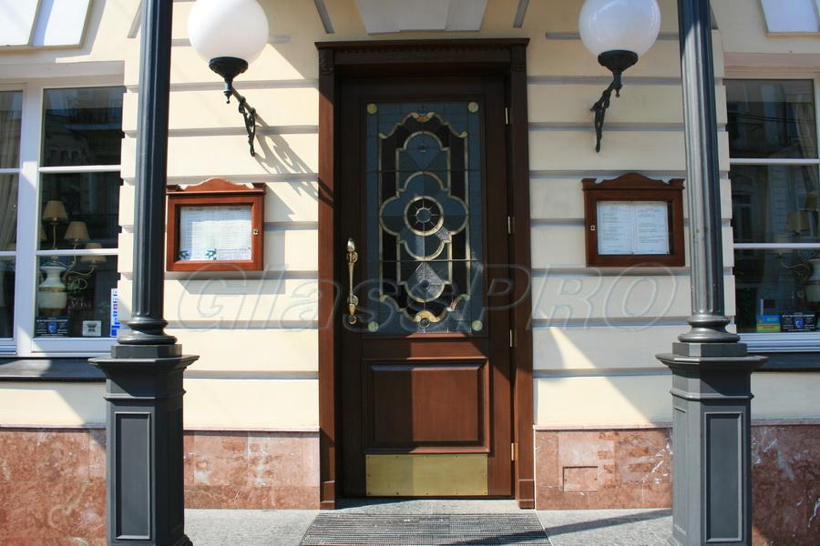 """Витраж Тиффани, входная дверь, ресторан """"Старе Запоріжжя"""" (Киев) - <span style=""""color: #ffff00;"""">Увеличить изображение!</span>"""